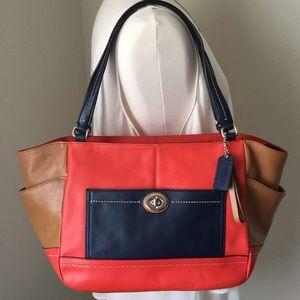 Orange/Navy Blue Coach Bag